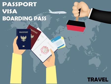 Disegno vettoriale di viaggio, visto che timbra il passaporto con la carta d'imbarco sulla mappa del mondo di fondo. Archivio Fotografico - 46649937