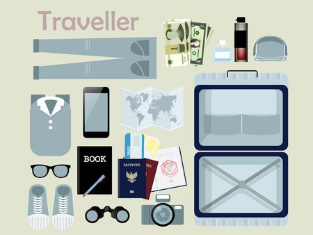 viaggi: design piatto di attrezzatura di viaggiatore, cosa necessaria di viaggiatore, concetto di viaggiatore