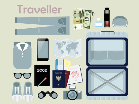 suitcase packing: flat design of outfit of traveler, necessary thing of traveler,traveler concept