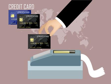 クレジット カードのコンセプト デザイン、手クレジット カード機にクレジット カードをスワイプ