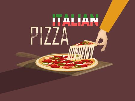 comida italiana: hermoso dise�o del vector de la pizza italiana con queso y paleta de pizza, dise�o de concepto de comida italiana