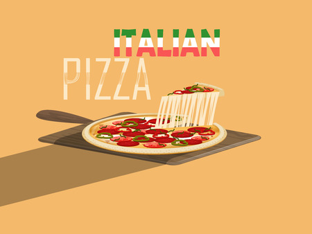 italian cuisine: beautiful design vector of italian pizza with cheese and pizza paddle on yellow background,italian food concept design Illustration