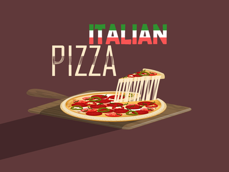 italian food: beautiful design vector of italian pizza with cheese and pizza paddle,italian food concept design