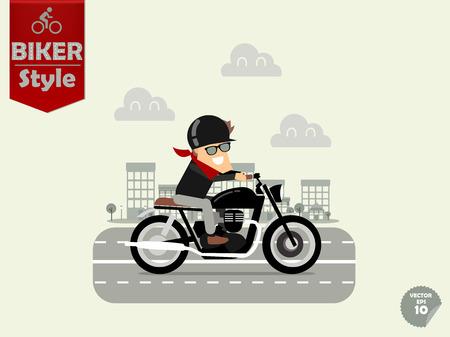 casco moto: hombre montado en la motocicleta, el concepto de diseño de la motocicleta Vectores