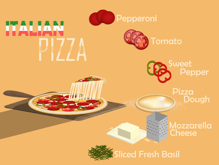 pizza dough: design concept of italian pizza on pizza paddle and its ingredient : pepperoni,tomato,sweet pepper,pizza dough,mozzarella cheese and fresh basil Illustration