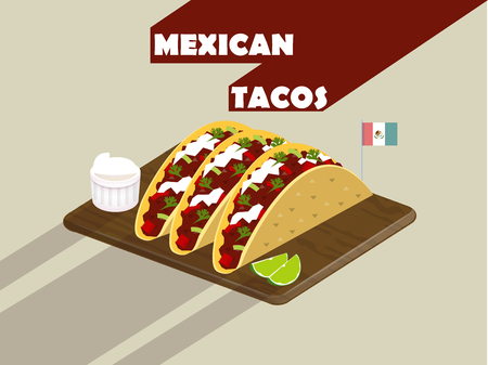 A paddle of delicious mexican tacos with lime and cheese,flat design of mexican tacos