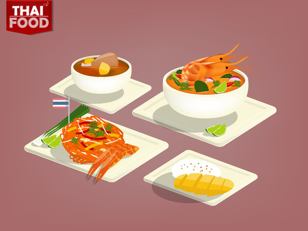 카레: beautiful flat design of Thai food and Thai dessert such as Tom-Yum-Goong,Pad Thai,chicken massaman curry,mango sticky rice