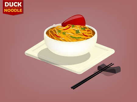 beautiful design vector of chinese duck noodle and chopsticks Illustration