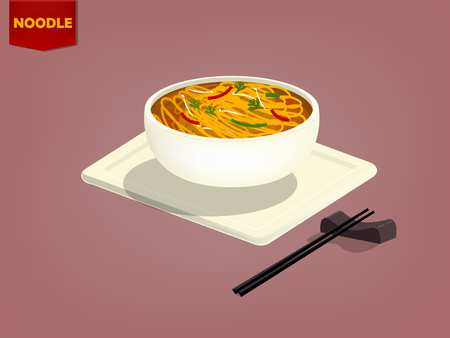 thai noodle: beautiful design vector of chinese noodle and chopsticks
