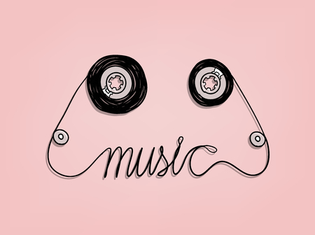 cassettebandje muziek grafisch ontwerp, muziek achtergrond design concept