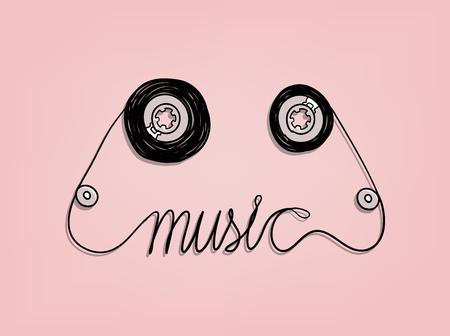iconos de m�sica: m�sica en cassette de cinta de dise�o gr�fico, m�sica de fondo concepto de dise�o