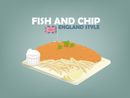 english food: beautiful design of fish and chip,lime and mayonnaise on flat dish,english food style Illustration