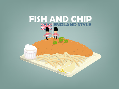 fish fillet: beautiful design of fish and chip,lime and mayonnaise on flat dish,english food style Illustration
