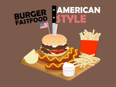 american food: beautiful design of double beef cheese burger,sausage with mustard,french fries and lime on the wood board,american food style