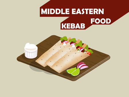 mayonnaise: beautiful design of meat kebab,lime and mayonnaise on woodboard