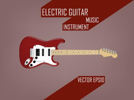 エレク トリック ギター、音楽楽器ベクトル概念の美しいリアルなデザイン設定