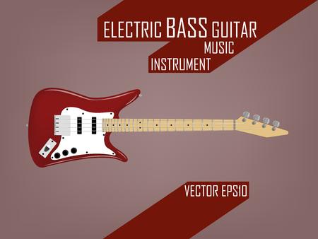 エレクトリック ベース ギター、音楽楽器ベクトル概念の美しいリアルなデザイン設定