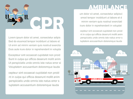 beautiful design of medical info-graphic; CPR and ambulance