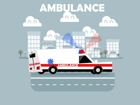 doctors and patient: beautiful design of ambulance with siren on the road in town Illustration
