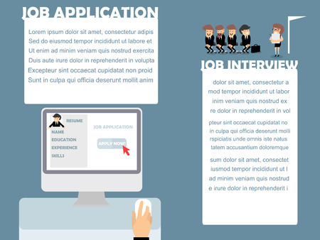 job application: beautiful info-graphic design of job application and job interview