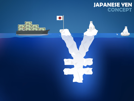 japanese currency: graphic design illustration of Japanese Yen symbol as iceberg in the ocean with polar bear,Japanese Yen money value concept design