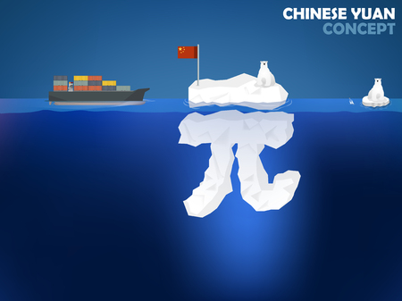 graphic design illustration of Chinese Yuan symbol as iceberg in the ocean with polar bear,Chinese Yuan money value concept design