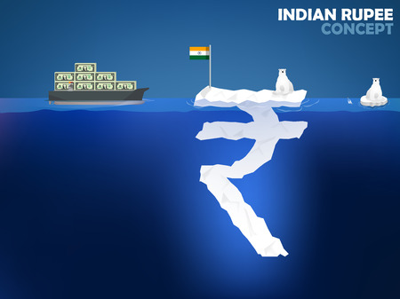 indian ocean: graphic design illustration of Indian Rupee symbol as iceberg in the ocean with polar bear,Indian Rupee money value concept design Illustration