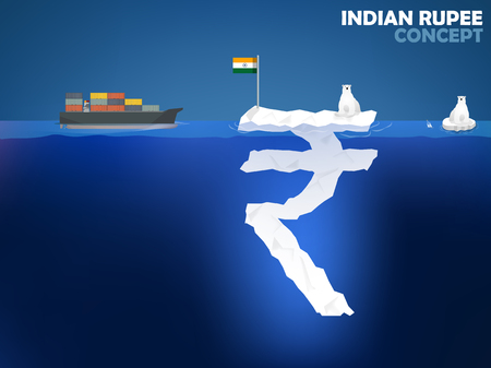 indian money: graphic design illustration of Indian Rupee symbol as iceberg in the ocean with polar bear,Indian Rupee money value concept design Illustration