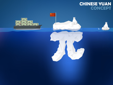 renminbi: graphic design illustration of Chinese Yuan symbol as iceberg in the ocean with polar bear,Chinese Yuan money value concept design