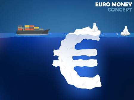 euro money: graphic design illustration of euro money symbol as iceberg in the ocean with polar bear euro money value concept design