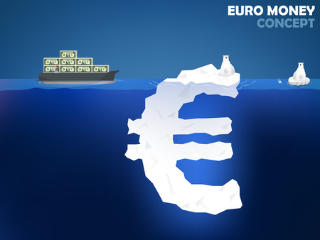 foreign exchange rates: graphic design illustration of euro money symbol as iceberg in the ocean with polar bear euro money value concept design