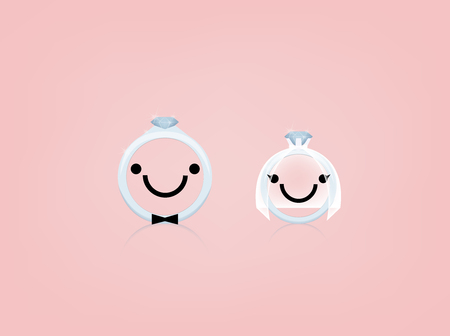 beautiful smile: beautiful graphic design of wedding ring with smile face and wedding suit,wedding concept design Illustration