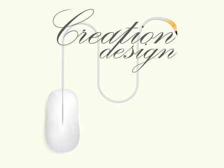 beautiful graphic design of creationcomputer mouse is writing the word creation design vector