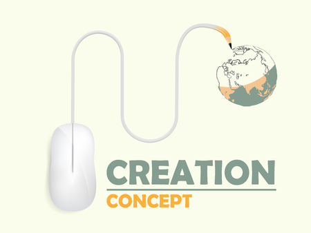 beautiful graphic design of creationcomputer mouse is drawing the world vector