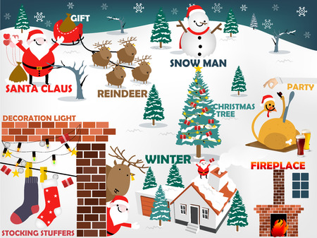 snow landscape: beautiful graphic design of christmas, top ten of christmas consist of Santa Claus, Reindeer, Snow man, Christmas tree, christmas meal, fireplace, winter, decoration light,stocking stuffers,gift Illustration