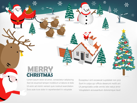 snow man: beautiful info-graphic design of christmas, info-graphic of christmas consist of Santa Claus, Reindeer, Snow man, Christmas tree, fireplace, winter,gift Illustration