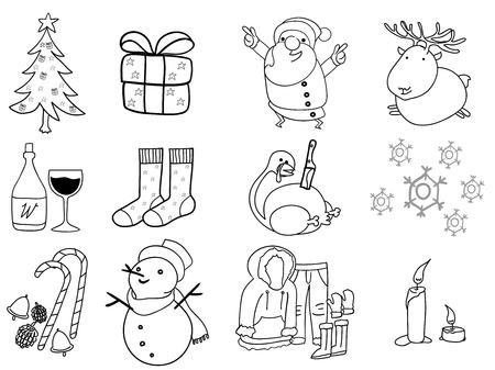 belle illustration de conception graphique de noël, 12 choses de noël; arbre de noël, boîte-cadeau, le père noël, renne, vin, stuffers de bas, de la dinde, hiver, décoration, bonhomme de neige, bougie, habit de neige Vecteurs