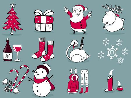 belle illustration de conception graphique de noël, 12 choses de noël; arbre de noël, boîte-cadeau, le père noël, renne, vin, stuffers de bas, de la dinde, hiver, décoration, bonhomme de neige, bougie, habit de neige