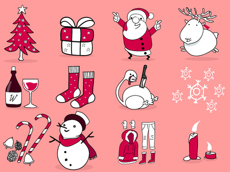 snow man party: beautiful illustration graphic design of christmas,12 things of christmas; christmas tree,gift box,santa claus,reindeer,wine,stocking stuffers,turkey,winter,decoration,snow man,candle,snow suit