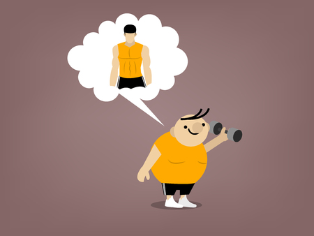 fat loss: fat man is holding dumbbell and imagine him self to be shapely