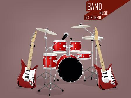 バンド楽器の美しい現実的ベクトル