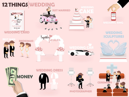 wedding ceremony: beautiful graphic design 12 things of wedding : wedding card invitation,cake,ring,best man and bridesmaid,wedding car decoration,wedding sculpture,money,wedding dress,photographer and ceremony