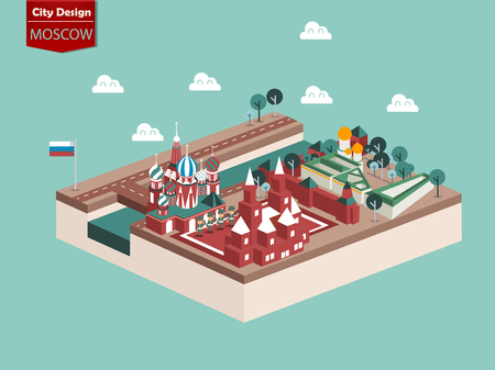 russian culture: beautiful design vector of moscow russia