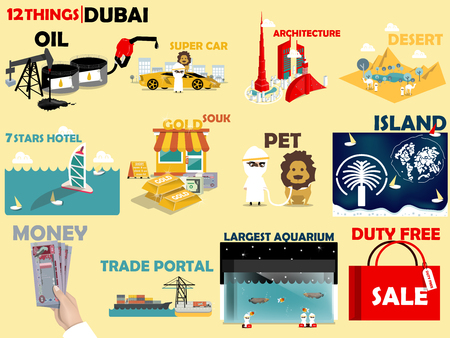 duty free: beautiful graphic design 12 things of Dubai United Arab Emirates : oil and gas,super car,architecture,desert,hotel,gold souk,pet,island,money,trade portal,aquarium and duty free Illustration
