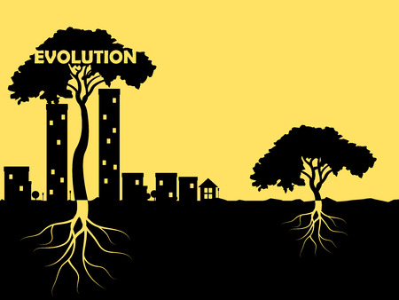 growing up: graphic design of evolution concept as plant growing