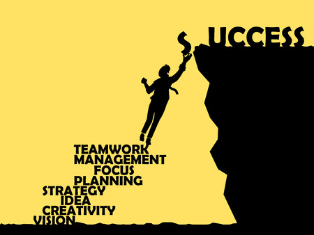 beautiful graphic design of method to success,way to success consist of teamwork,management,focus,planning,strategy,idea,creativity and vision