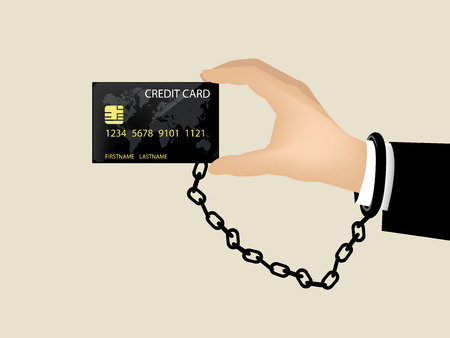 bad habit: beautiful design of credit card and debt,hand chained with credit card