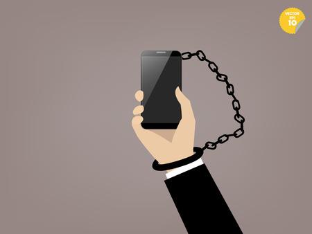 스마트 폰 중독의 아름다운 그래픽 디자인, 손으로 스마트 폰과 연결 일러스트