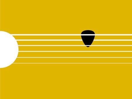 gitara: Piękna oprawa graficzna gitary i wybrać, czarny Guitar pick na gryfie, concept design gitary