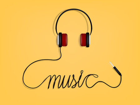 mobile telephones: graphic design of music,headphones wire as music alphabet form